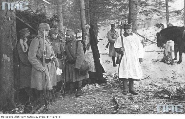 Walki II Brygady Legionów pod Rafajłową podczas działań na froncie wschodnim - zmiana warty, 1914
