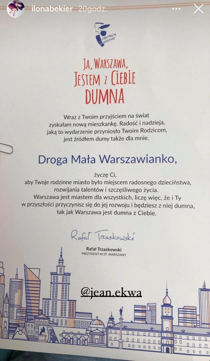 Ilona Bekier pochwaliła się gratulacjami od prezydenta Warszawy /Screen z InstaStory  /materiał zewnętrzny