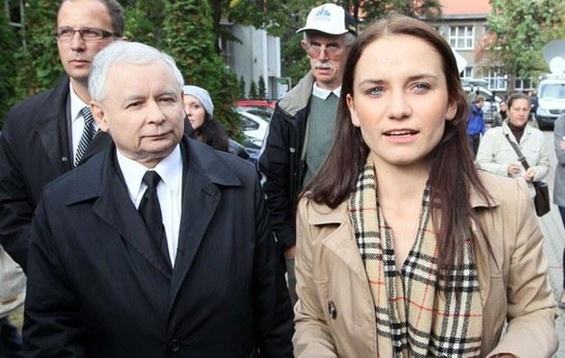 Ilona Klejnowska i Jarosław Kaczyński podczas wyborów parlamentarnych /Andrzej Iwańczuk /Reporter