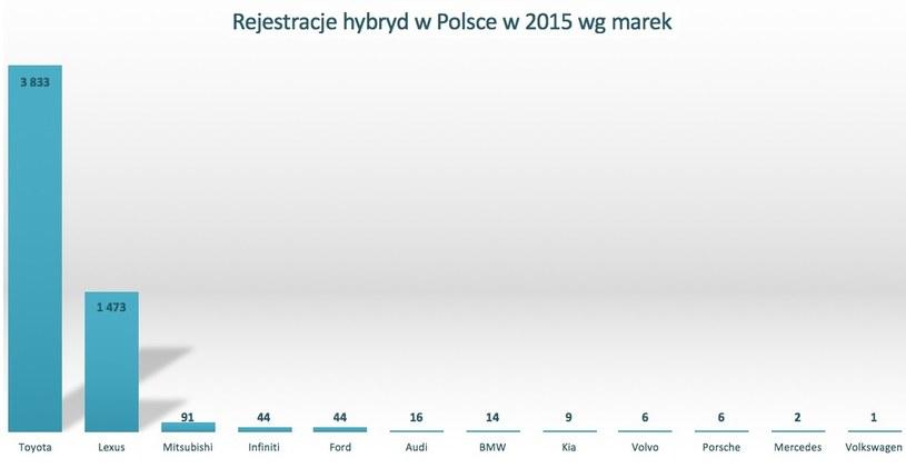 Ilość zarejestrowanych aut hybrydowych poszczególnych marek /