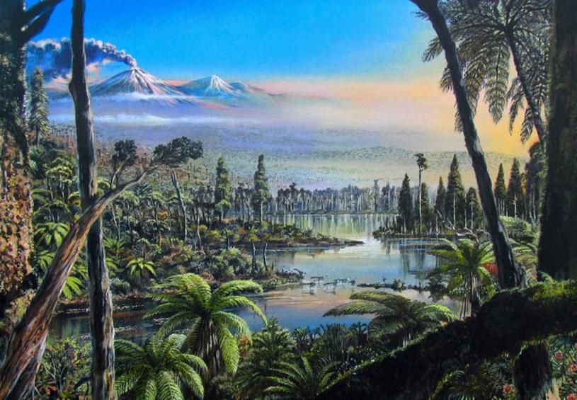 Ilustracja przedstawiająca, jak mogła wyglądać Antarktyda 90 mln lat temu /Alfred-Wegener-Institut/James Mc/Ferrari Press /East News