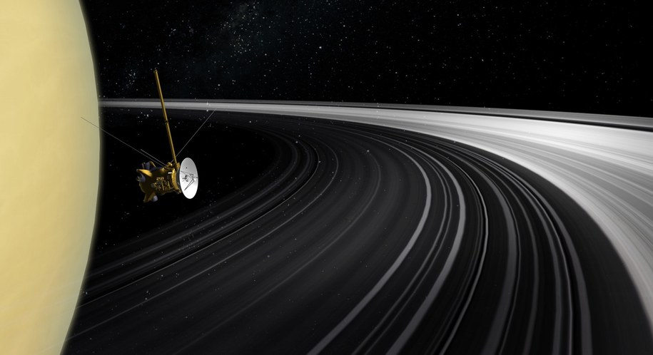Ilustracja sondy Cassini na tle pierscieni Saturna /NASA/JPL-Caltech /Materiały prasowe