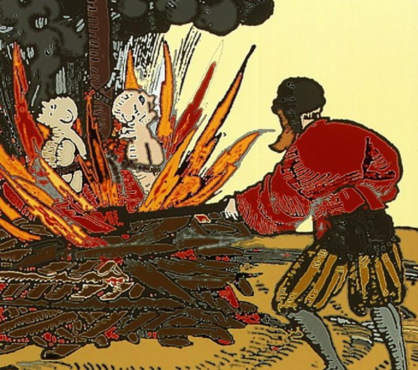Ilustracja z czasów zarazy: palenie na stosie chorych na dżumę /East News