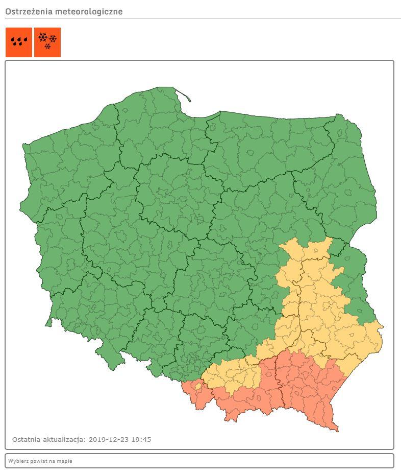 IMGW wydało ostrzeżenia 1 i 2 stopnia /IMGW/pogodynka.pl
