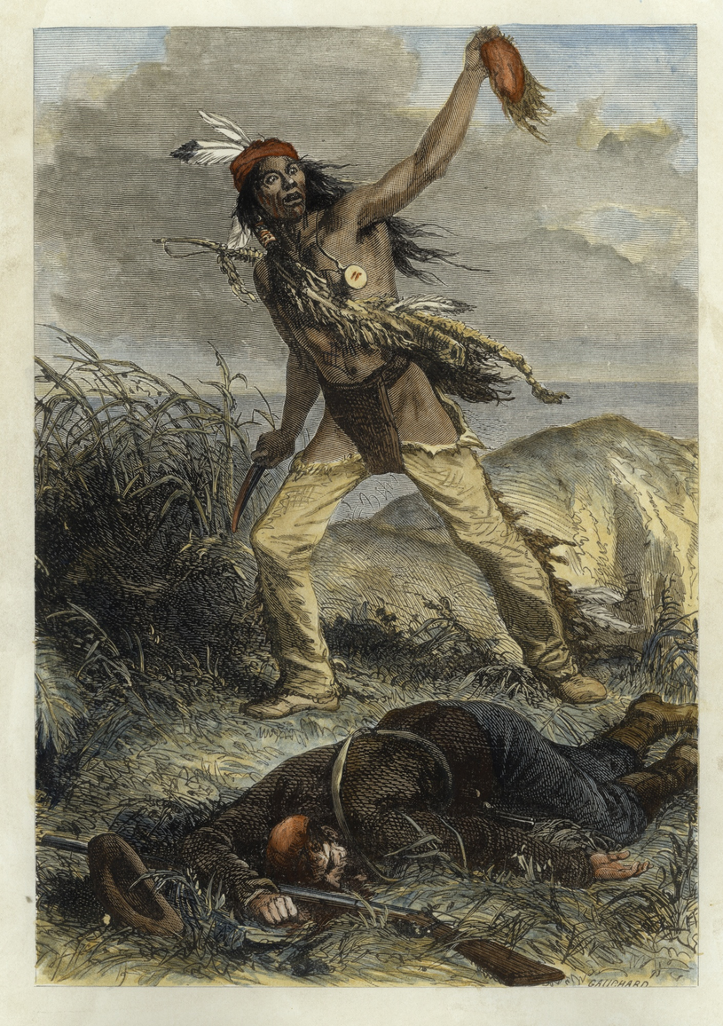 Indianin skalpujący kolonialistę. Francuska rycina z 1904 roku /East News