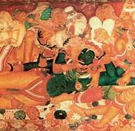 Indyjska sztuka, Kriszna w otoczeniu pasterek, scena z Bhagavatpurana, malowidło ścienne w Pałacu /Encyklopedia Internautica