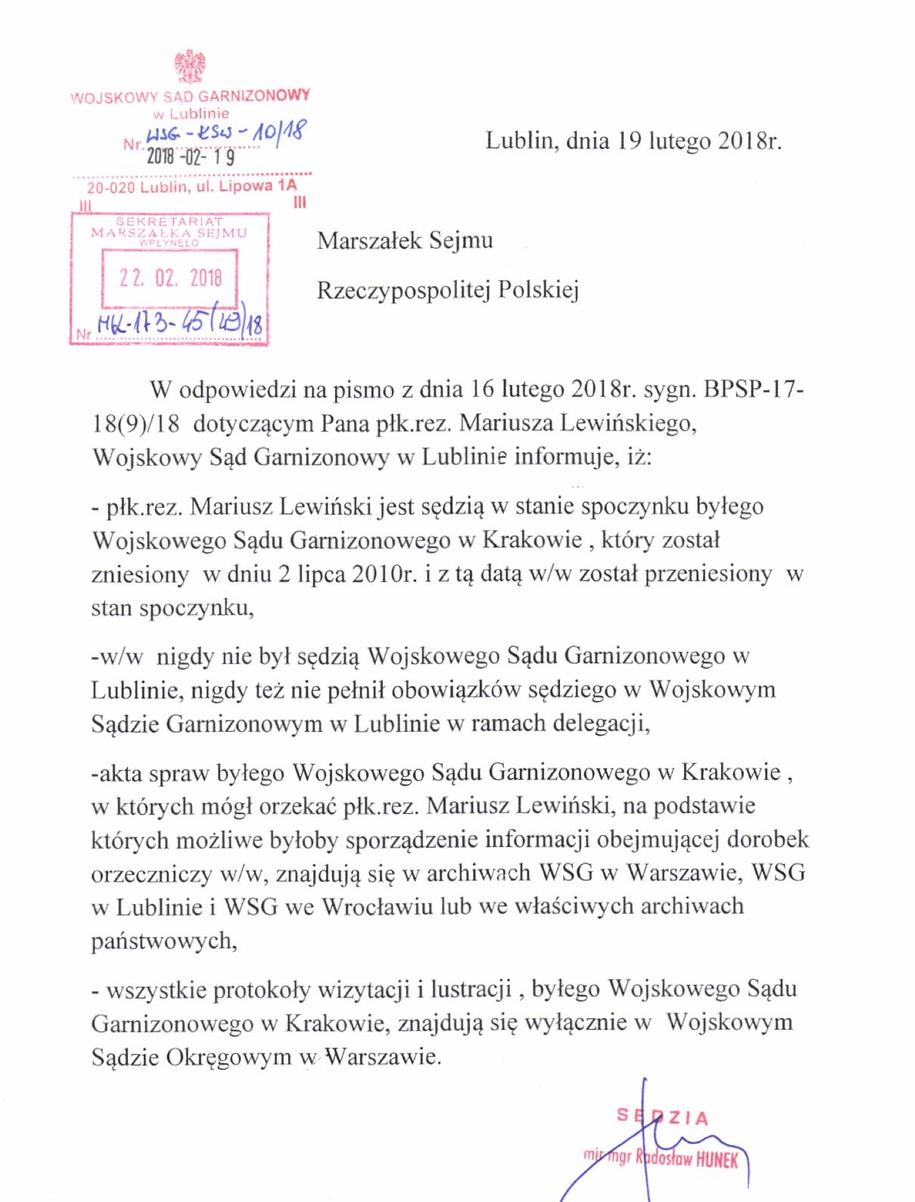 Informacja dot. sędziego Lewińskiego /