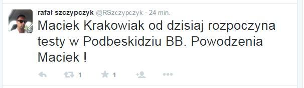 Informacja na Twitterze Rafała Szczypczyka. Źródło: https://twitter.com/RSzczypczyk /Twitter /Internet