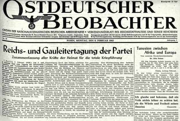"""Informacja o poznańskiej naradzie reichs- i gauleiterów w lutym 1943 roku w dzienniku """"Ostdeutscher Beobachter"""". /Odkrywca"""