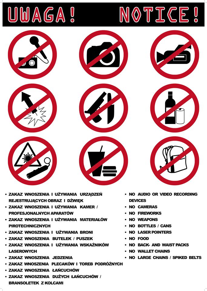 Informacja o przedmiotach, których nie można wnosić na koncert /materiały prasowe /