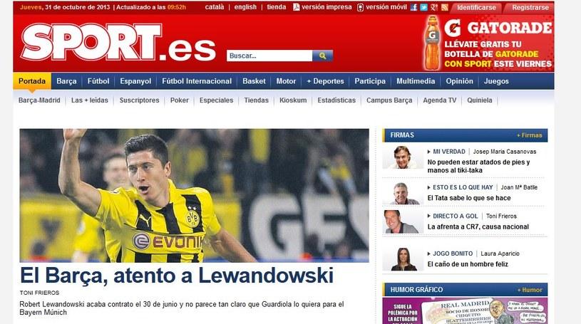 """Informacja o Robercie Lewandowskim zdominowała kataloński """"Sport"""". /INTERIA.PL"""