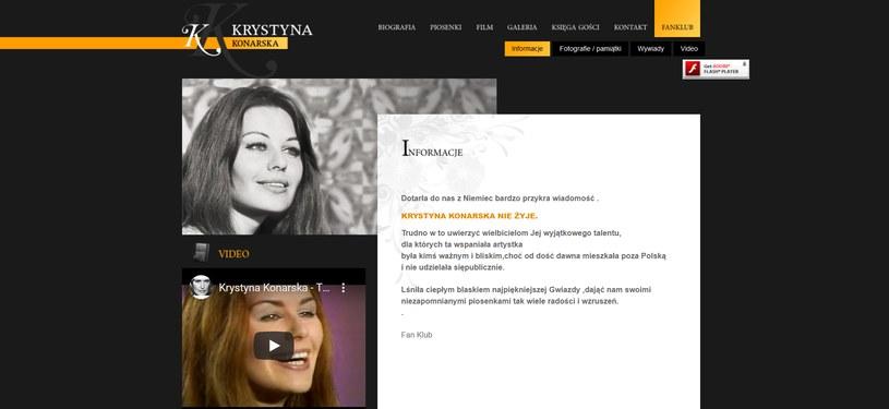 Informacja o śmierci Krystyny Konarskiej na jej oficjalnej stronie internetowej /