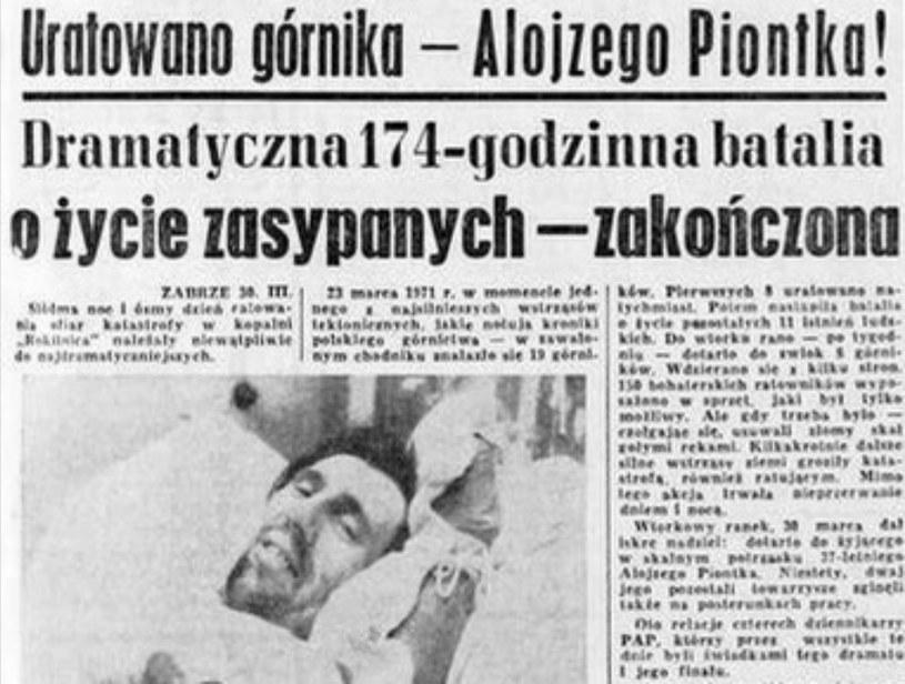 Informacja o uratowaniu Alojzego Piontka w Dzienniku Zachodnim /materiały prasowe