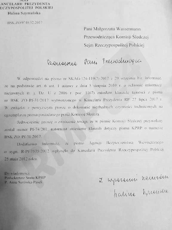 Informacja o zniesieniu klauzuli tajności /Patryk Michalski /RMF FM