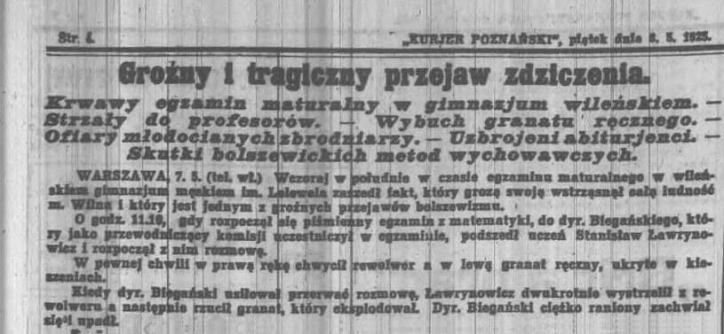 """Informacja z gazety """"Kurjer Poznański"""" na temat masakry w szkole Lelewela w Wilnie. /domena publiczna"""