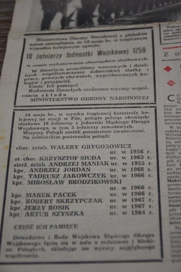 """Informacja z nazwiskami ofiar w """"Żołnierzu Ludu"""" /"""