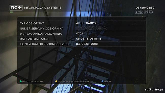 Informacje o wersji oprogramowania z menu Diagnostyka /SatKurier
