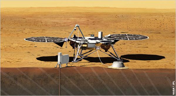 InSight na powierzchni Marsa - wizualizacja. /NASA