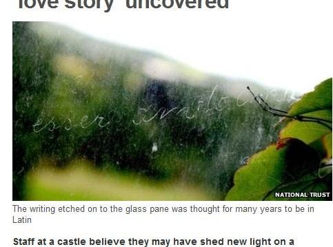 Inskrypcja w oknie jednej z wież. Fot. bbc.co.uk /