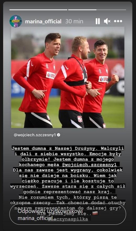 InstaStory Mariny po meczu Polska-Słowacja. / Zdjęcie pochodzi z https://www.instagram.com/marina_official/?hl=pl /Instagram/marina_official  /Instagram