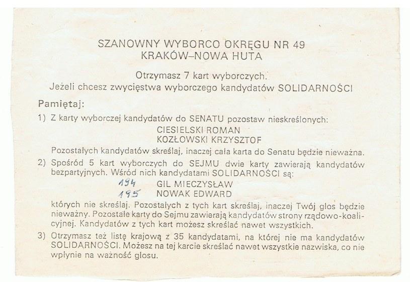Instrukcja, jak należało wypełnić kartę podczas czerwcowych wyborów '89 /archiwum prywatne