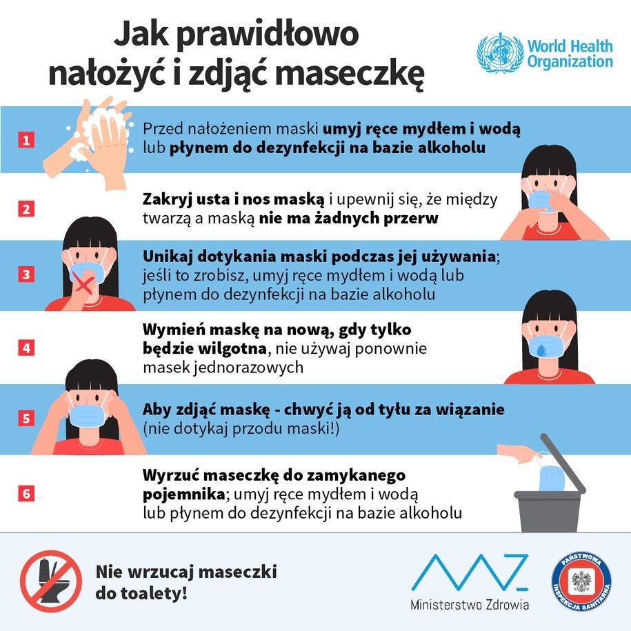 Instrukcja zakładania i ściągania maseczki /Ministerstwo Zdrowia /Materiały prasowe
