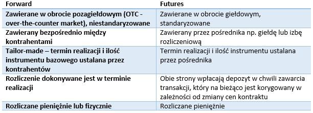 Instrumenty forward i futures (porównianie) /INTERIA.PL