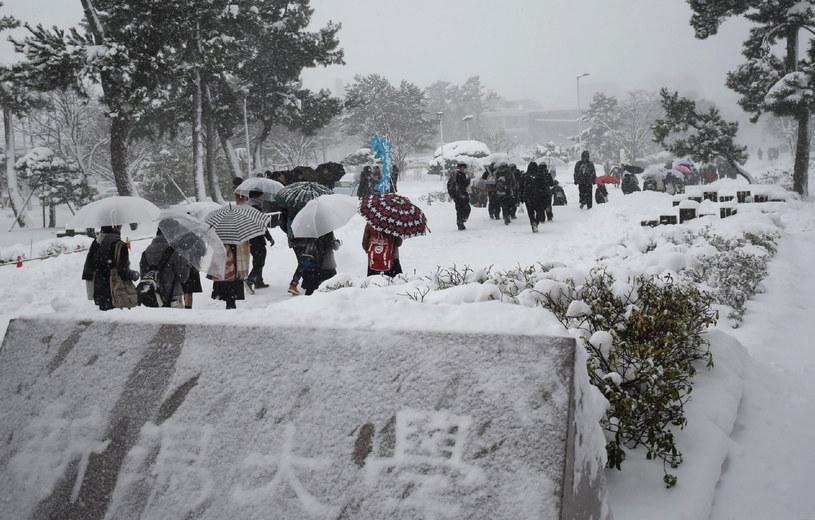 Intensywne opady śniegu wywołały utrudnienia komunikacyjne /STR / JIJI PRESS / AFP /AFP