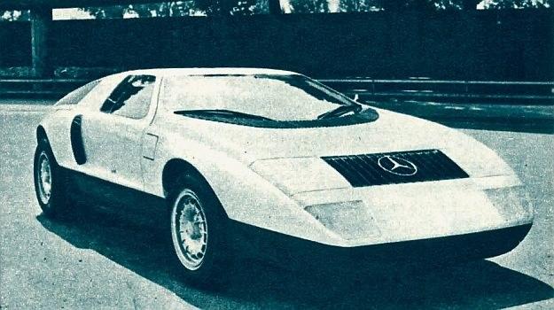 Interesujący, doświadczalny samochód F-my Daimler Benz; model C111 z trzykomorowym silnikiem Wankla. /Mercedes
