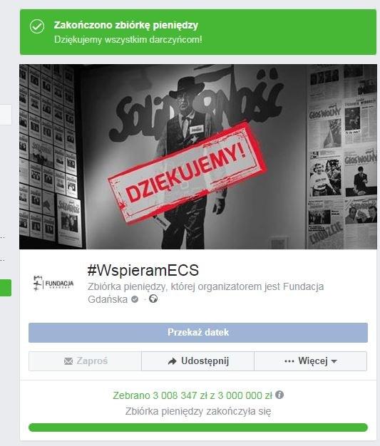 Internauci wpłacili 3 mln zł na ECS /Facebook /Zrzut ekranu