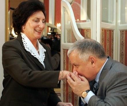 Irena Szewińska i prezydent Lech Kaczyński /AFP