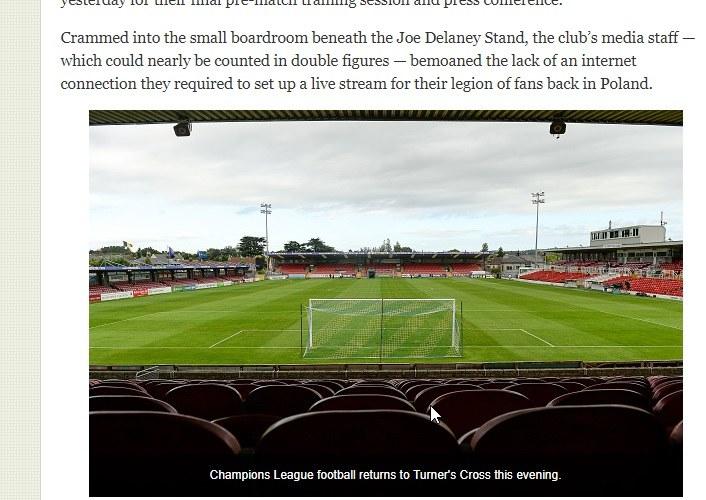 Irlandczycy podziwiają Legię i podkreślają, że jej stadion od areny Cork City (na zdjęciu) jest większy prawie pięciokrotnie. /