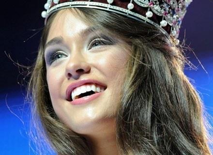 """Iryna Zhuravska tuż po tym, jak wygrała konkurs """"Miss World Ukraine 2008"""", Kijów, 23 kwietnia 2008 /AFP"""