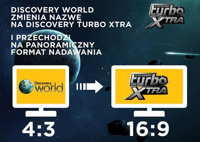 iscovery World zmieni format nadawania z obecnego 4:3 na 16:9 oraz zmieni swoją nazwę na Discovery Turbo Xtra /SatKurier