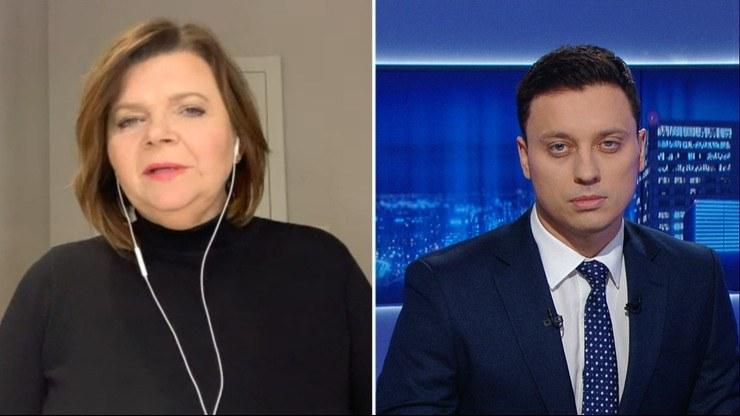 Izabela Leszczyna w rozmowie z Piotrem Witwickim na antenie Polsat News /Polsat News