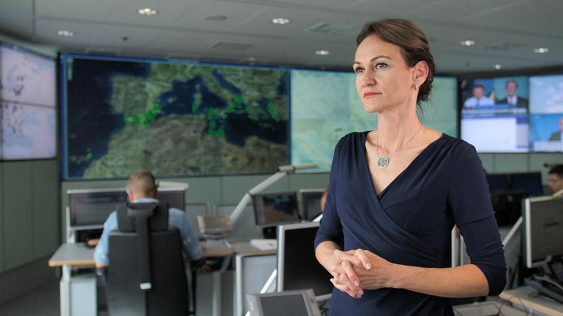 Izabella Cooper w Centrum Sytuacyjnym Frontexu (fot. Frontex) /