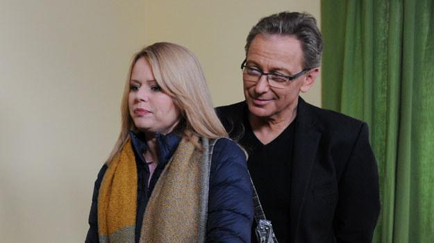 """Jacek Borkowski i Magda Wójcik na planie serialu """"Klan"""" /Agencja W. Impact"""
