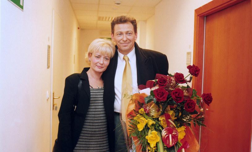 Jacek Borkowski z pierwszą żoną, 2002 rok /Mikulski /AKPA