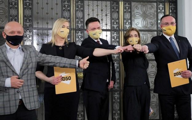 Jacek Bury, Hanna Gill-Piątek, Szymon Hołownia, Joanna Mucha i Michał Kobosko /Wojciech Olkuśnik /PAP