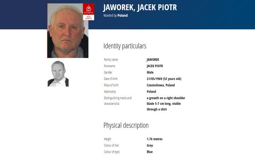 Jacek Jaworek poszukiwany przez Interpol /Interpol /materiały prasowe