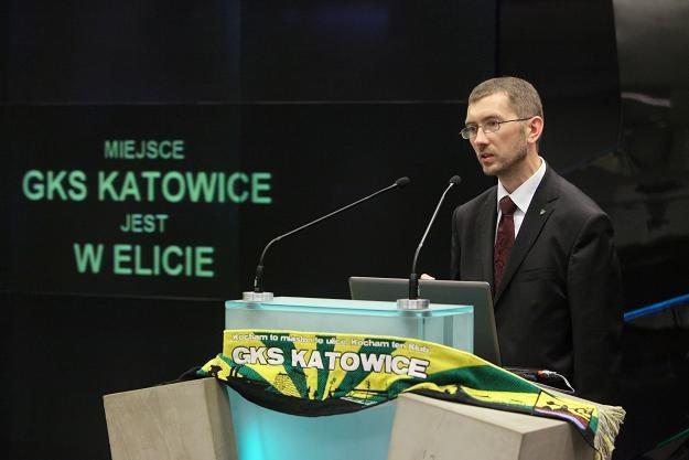 Jacek Krysiak, prezes Katowic, w czasie debiutu na NewConnect /PAP