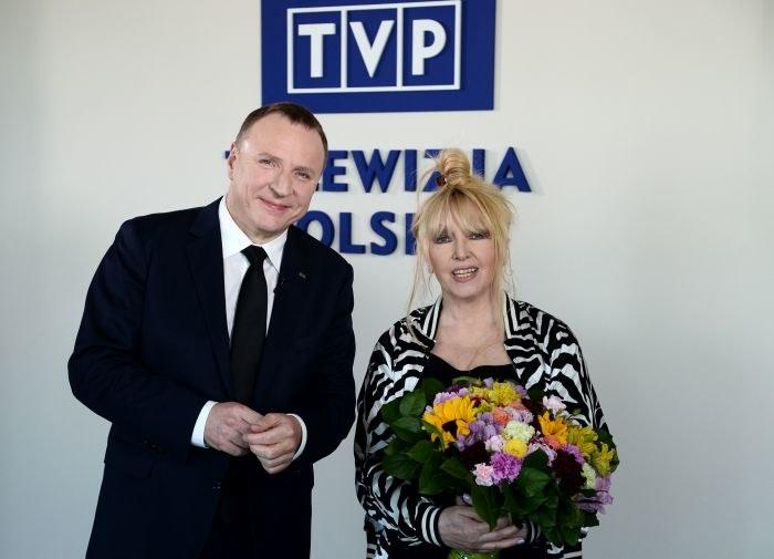 Jacek Kurski i Maryla Rodowicz podczas wtorkowego spotkania w TVP /Jan Bogacz /TVP