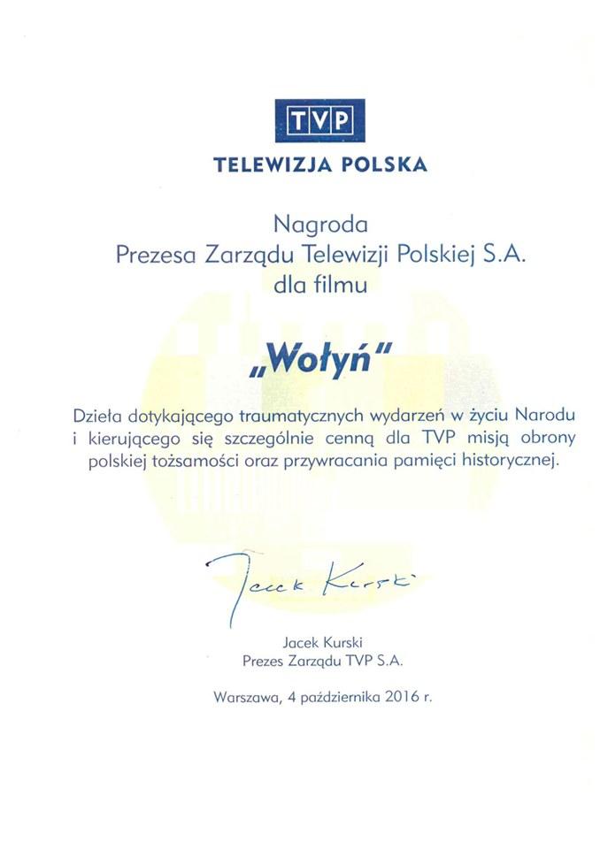 "Jacek Kurski nagradza ""Wołyń"" /Film It /Facebook"