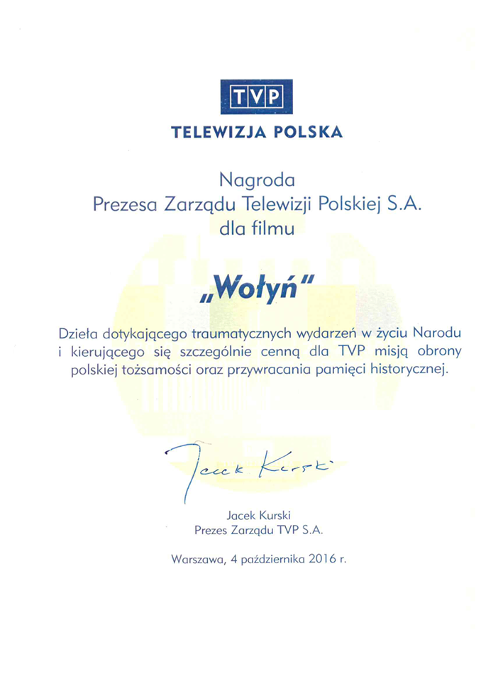 "Jacek Kurski nagradza ""Wołyń"" /Film It /Facebook"