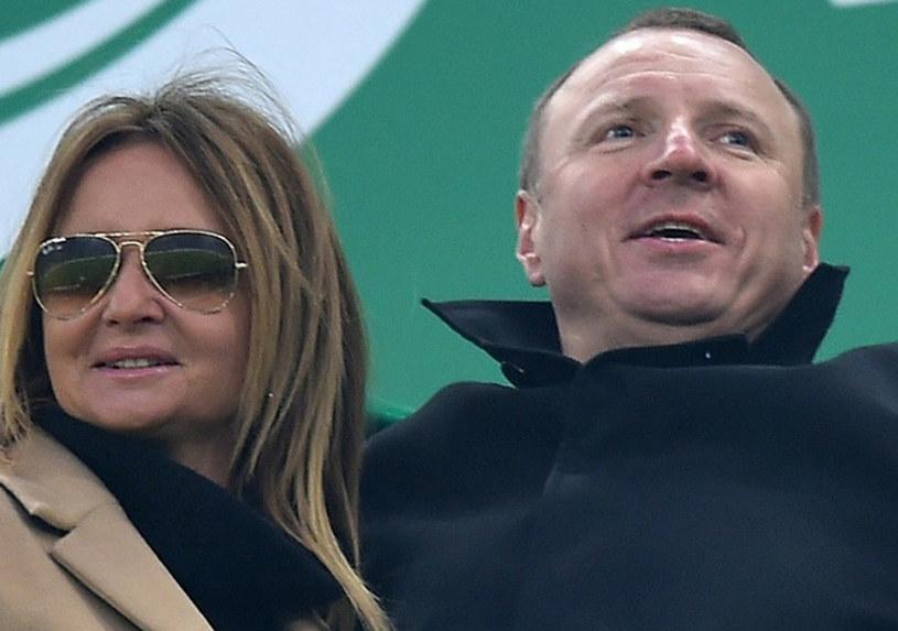 Jacek Kurski z ukochaną na meczu Lechia Gdańsk-Arka Gdynia /Marcin Gadomski /East News