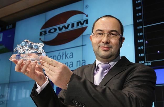 Jacek Rożek, wiceprezes spółki Bowim, w czasie debiutu na GPW /PAP