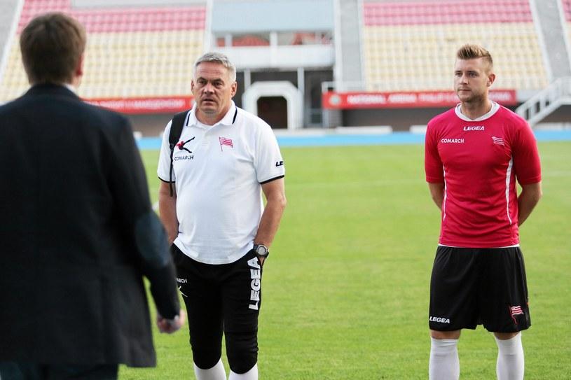 Jacek Zieliński (z lewej) z Marcinem Budzińskim przed pierwszym meczem /Fot. Mateusz Skwarczek /
