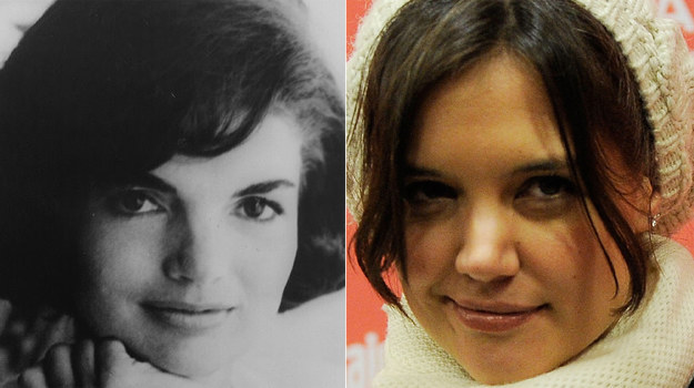 Jackie Kennedy i mająca wcielić się w nią w serialu, Katie Holmes / fot. Jemal Countess /Getty Images/Flash Press Media