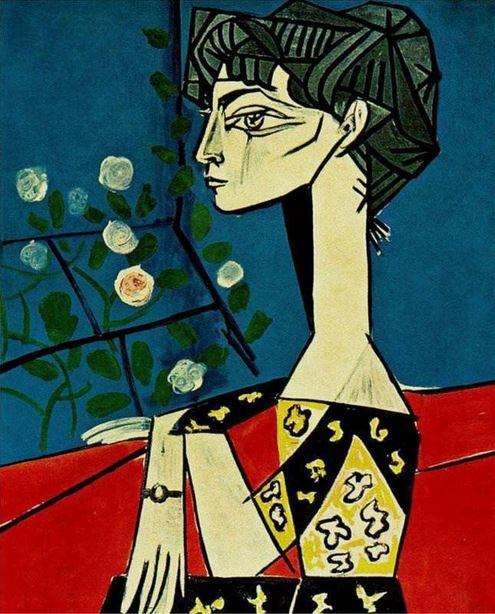 """""""Jacqueline z kwiatami"""", Pablo Picasso, 1954 r. /źródło: www.pablopicasso.org /INTERIA.PL"""