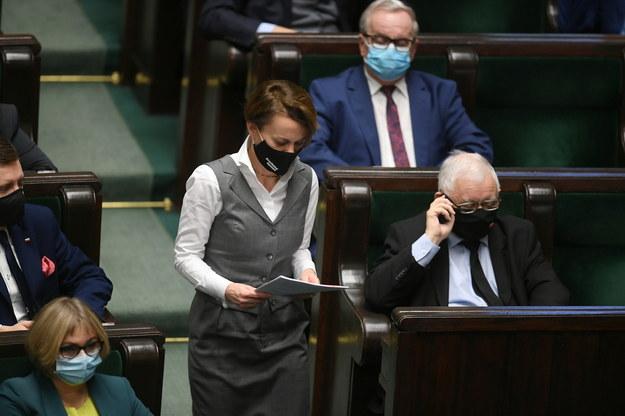 Jadwiga Emilewicz i Jarosław Kaczyński /Marcin Obara /PAP